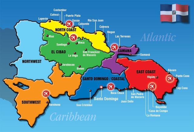 Mapa de las playas en la República Dominicana