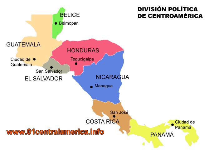 central america politic map
