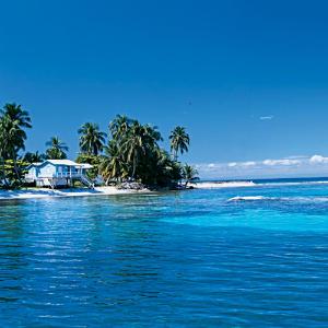 The coastline of Belize