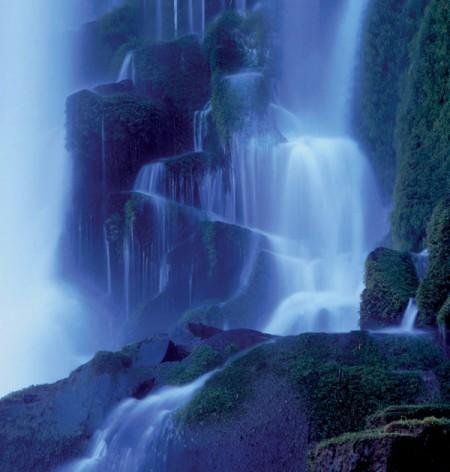 Iguazu falls at night under the moonlight
