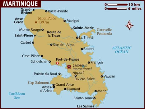 map martinique island